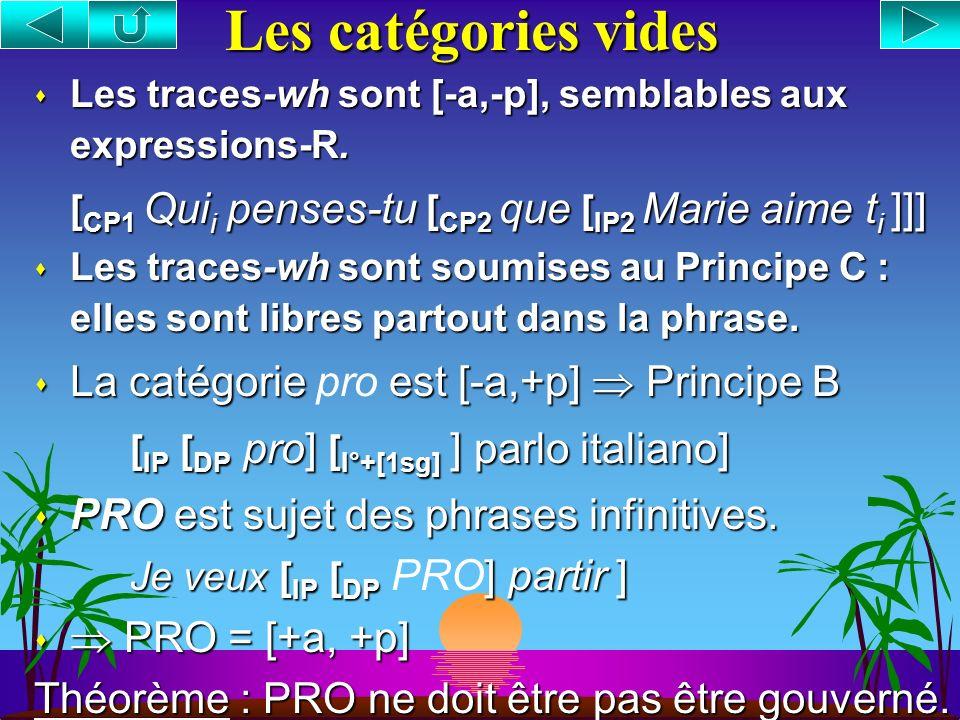 Les catégories vides La catégorie pro est [-a,+p]  Principe B